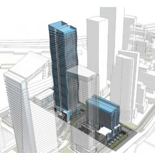 A proposed 53 & 14 storey building